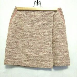 LOFT Pink Tweed Career/Casual Sz 2 Faux Wrap Skirt